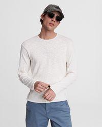 Rag & Bone Taylor Cotton Linen Crew Relaxed Fit Shirt - White