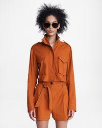 Rag & Bone M65 Cropped Linen Blend Field Jacket Classic Fit Jacket - Multicolour