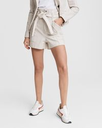 Rag & Bone Stripe Tie Waist Cargo Shorts - White