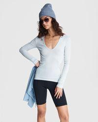 Rag & Bone Zoe Deep Vee Rib Long Sleeve Slim Fit Top - Blue
