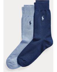 Polo Ralph Lauren Paquete De 2 Pares De Calcetines De Punto Liso - Azul