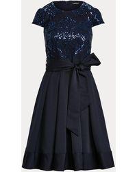 Ralph Lauren Vestido De Cóctel Con Manga De Casquillo - Azul