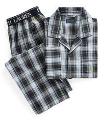 Polo Ralph Lauren Karierter Pyjama aus Baumwolle - Blau