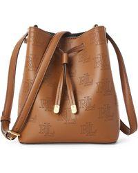 Ralph Lauren Lauren Dryden Debby Logo Leather Bucket Bag - Brown