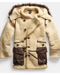 RRL Shearling Hooded Coat - Natural