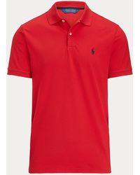 Ralph Lauren Polo De Piqué Elástico Custom Slim Fit - Rojo
