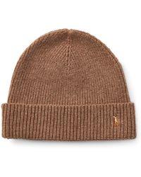 598ddaa3b99 Lyst - Polo Ralph Lauren Signature Merino Cuff Hat (dark Loden) Caps ...