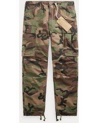 RRL Pantalon cargo camouflage en ripstop - Vert