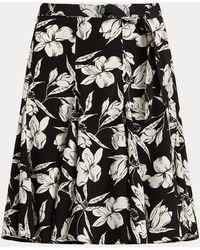 Polo Ralph Lauren Floral Crepe Wrap Skirt - Black