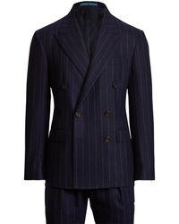 Ralph Lauren Polo Pinstripe Wool Flannel Suit - Blue