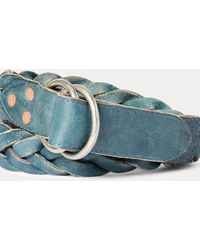 RRL Braided Indigo Leather Belt - Multicolour