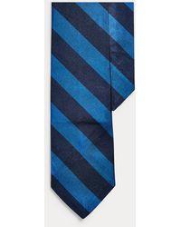 Ralph Lauren Cravate étroite reps de soie rayé - Bleu
