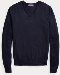 Ralph Lauren Purple Label Jersey Con Cuello De Pico De Cachemira - Azul