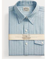 RRL Camisa Eli Slim Fit A Rayas - Azul