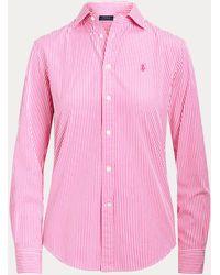 Ralph Lauren Camisa De Algodón De Rayas Classic Fit - Rosa
