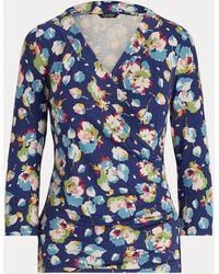 Ralph Lauren Haut cache-cœur en jersey fleuri - Bleu