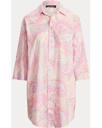 Ralph Lauren Camisa De Pijama De Mezcla De Algodón - Rosa