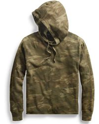 RRL - Camo Waffle-knit Cotton Hoodie - Lyst