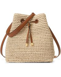 Ralph Lauren Crochet-straw Debby Drawstring Bag - Natural