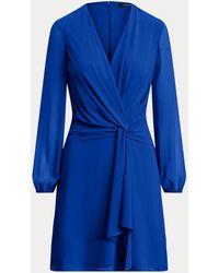 Ralph Lauren Langärmliges Georgettekleid - Blau