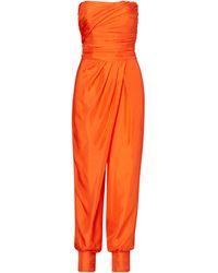 Polo Ralph Lauren Strapless Silk Jumpsuit - Orange