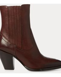 Polo Ralph Lauren Bottes de cowboy Lowrey en cuir - Marron