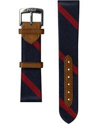 Ralph Lauren Striped Silk Watch Strap - Blue