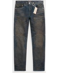 RRL Slim Fit Indigo Roughout Suede Pant - Blue