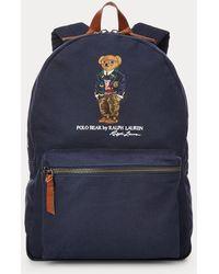 Polo Ralph Lauren Mochila De Loneta Con Polo Bear - Azul