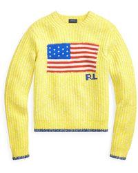 Polo Ralph Lauren Flaggen-Pullover aus Wollmischung - Gelb