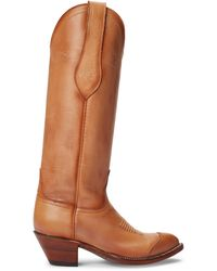 Ralph Lauren Kiera Leather Cowboy Boot - Red