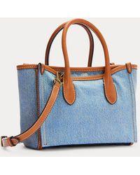 Polo Ralph Lauren Minibolso Satchel De Tela Vaquera Sloane - Azul