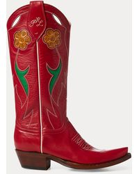 Polo Ralph Lauren Selene Leather Cowboy Boot - Red