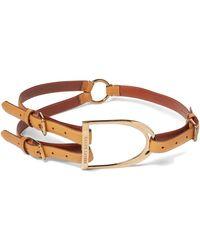 Ralph Lauren Equestrian Tri-strap Calf Belt - Brown