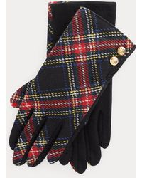 Ralph Lauren Plaid Two-button Tech Gloves - Black