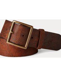 RRL Distressed Leather Belt - Multicolour