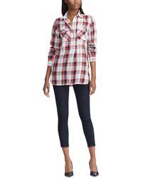 Lauren by Ralph Lauren Plaid Cotton Twill Partial Button Front Tunic Shirt - Red