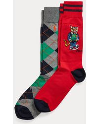 Ralph Lauren 2er-Pack Socken mit Argyle-Muster und Tigermotiv - Rot