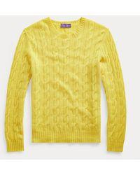 Ralph Lauren Purple Label - Maglia in cashmere a trecce - Lyst