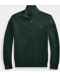Polo Ralph Lauren Pull demi-zippé en coton piqué - Vert
