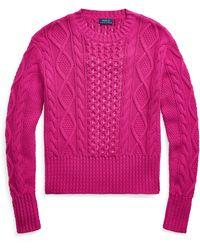 Ralph Lauren - Cable-knit Cotton Sweater - Lyst
