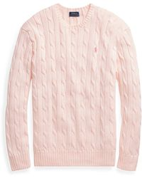 Polo Ralph Lauren - Pink Pony Cable Cotton Sweater - Lyst