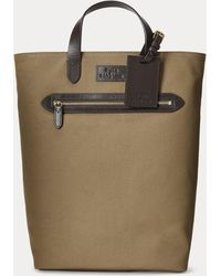 Polo Ralph Lauren Leather-trim Canvas Convertible Tote - Brown