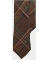 Ralph Lauren Purple Label Cravate motif tartan cachemire et soie - Marron