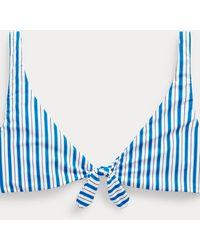 Polo Ralph Lauren Top De Bikini Con Rayas Y Lazo - Azul