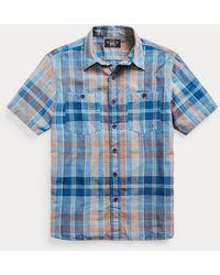 RRL Camicia scozzese in tessuto indaco - Blu