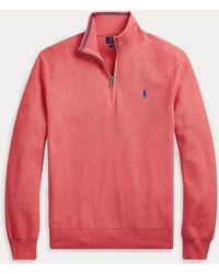 Polo Ralph Lauren Pull demi-zippé en coton - Rouge