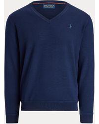 Ralph Lauren Maglia in lana lavabile scollo a V - Blu
