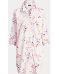 Ralph Lauren Camicia da notte in rasatello a fiori - Rosa
