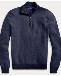 Ralph Lauren Purple Label Jersey Con Media Cremallera De Cachemira - Azul